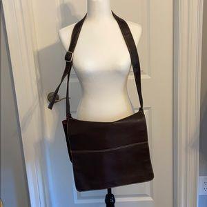 Brown leather laptop, briefcase messenger bag